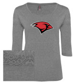 Ladies Grey Heather Tri Blend Lace 3/4 Sleeve Tee-Cardinal Head