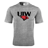Performance Grey Heather Contender Tee-UIW Cardinal Head Stacked