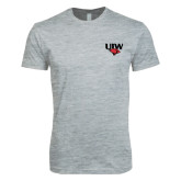 Next Level SoftStyle Heather Grey T Shirt-UIW Cardinal Head Stacked