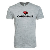 Next Level SoftStyle Heather Grey T Shirt-Cardinals w/ Cardinal Head