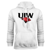 White Fleece Hood-UIW Cardinal Head Stacked
