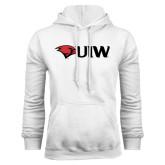 White Fleece Hoodie-Cardinal Head UIW