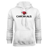 White Fleece Hood-Cardinals w/ Cardinal Head