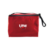 Six Pack Red Cooler-UIW Cardinal Head Stacked