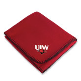 Red Arctic Fleece Blanket-UIW Cardinal Head Stacked