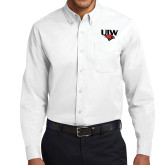 White Twill Button Down Long Sleeve-UIW Cardinal Head Stacked