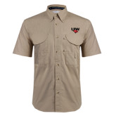Khaki Short Sleeve Performance Fishing Shirt-UIW Cardinal Head Stacked