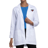 Ladies White Lab Coat-UIW Cardinal Head Stacked
