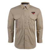 Khaki Long Sleeve Performance Fishing Shirt-UIW Cardinal Head Stacked