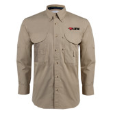 Khaki Long Sleeve Performance Fishing Shirt-Cardinal Head UIW