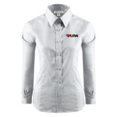 Ladies Red House White Long Sleeve Shirt-Cardinal Head UIW