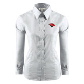 Ladies Red House White Long Sleeve Shirt-Cardinal Head