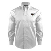 Red House White Dobby Long Sleeve Shirt-UIW Cardinal Head Stacked