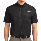 Black Twill Button Down Short Sleeve-Cardinal Head UIW