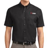 Black Twill Button Down Short Sleeve-Cardinal Head UIW