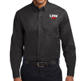 Black Twill Button Down Long Sleeve-UIW Cardinal Head Stacked