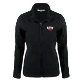Ladies Black Softshell Jacket-UIW Cardinal Head Stacked
