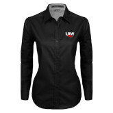 Ladies Black Twill Button Down Long Sleeve-UIW Cardinal Head Stacked