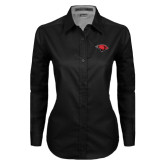 Ladies Black Twill Button Down Long Sleeve-Cardinal Head