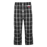 Black/Grey Flannel Pajama Pant-UIW Cardinal Head Stacked