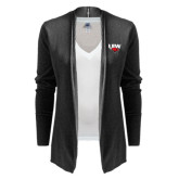 Ladies Black Open Front Cardigan-UIW Cardinal Head Stacked