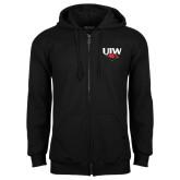 Black Fleece Full Zip Hood-UIW Cardinal Head Stacked