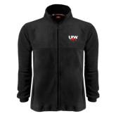 Fleece Full Zip Black Jacket-UIW Cardinal Head Stacked