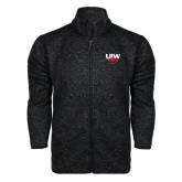 Black Heather Fleece Jacket-UIW Cardinal Head Stacked