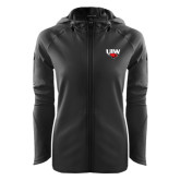 Ladies Tech Fleece Full Zip Black Hooded Jacket-UIW Cardinal Head Stacked