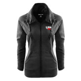 Ladies Sport Wick Stretch Full Zip Black Jacket-UIW Cardinal Head Stacked