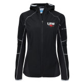 Columbia Ladies Sweet As Softshell Black Jacket-UIW Cardinal Head Stacked