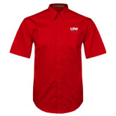 Red Twill Button Down Short Sleeve-UIW Cardinal Head Stacked
