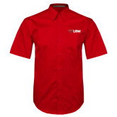 Red Twill Button Down Short Sleeve-Cardinal Head UIW