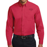 Red Twill Button Down Long Sleeve-UIW Cardinal Head Stacked