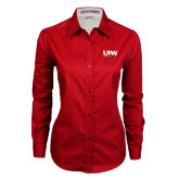 Ladies Red Twill Button Down Long Sleeve-UIW Cardinal Head Stacked