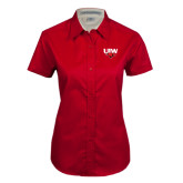 Ladies Red Twill Button Up Short Sleeve-UIW Cardinal Head Stacked