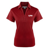 Ladies Red Performance Fine Jacquard Polo-UIW Cardinal Head Stacked