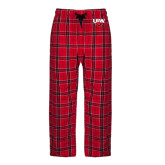 Red/Black Flannel Pajama Pant-UIW Cardinal Head Stacked