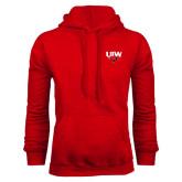 Red Fleece Hoodie-UIW Cardinal Head Stacked