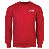 Red Fleece Crew-UIW Cardinal Head Stacked