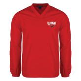 V Neck Red Raglan Windshirt-UIW Cardinal Head Stacked