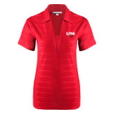 Ladies Red Horizontal Textured Polo-UIW Cardinal Head Stacked