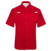 Columbia Tamiami Performance Red Short Sleeve Shirt-Cardinal Head UIW