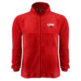 Fleece Full Zip Red Jacket-UIW Cardinal Head Stacked