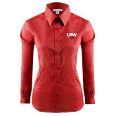 Ladies Red House Red Long Sleeve Shirt-UIW Cardinal Head Stacked