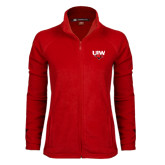 Ladies Fleece Full Zip Red Jacket-UIW Cardinal Head Stacked