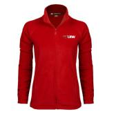 Ladies Fleece Full Zip Red Jacket-Cardinal Head UIW