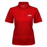 Ladies Red Dry Mesh Polo-UIW Cardinal Head Stacked