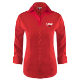 Ladies Red House Red 3/4 Sleeve Shirt-UIW Cardinal Head Stacked