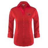 Ladies Red House Red 3/4 Sleeve Shirt-Cardinal Head